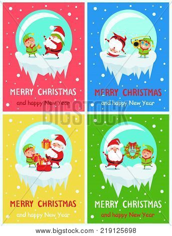 Merry Christmas Happy New Year posters Santa and Elf in balls playing hide-and-seek, listen to music, give presents, hang winter decor wreath vector