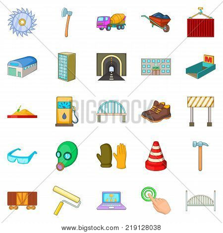 Completion of construction icons set. Cartoon set of 25 completion of construction vector icons for web isolated on white background
