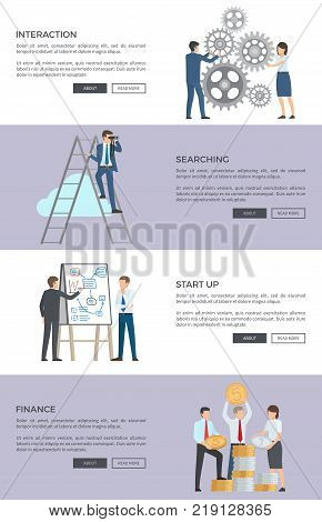 Interaction and searching, web pages, icon of men doing their work in office and text with buttons vector illustration isolated on white and purple