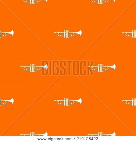 Brass trumpet pattern repeat seamless in orange color for any design. Vector geometric illustration