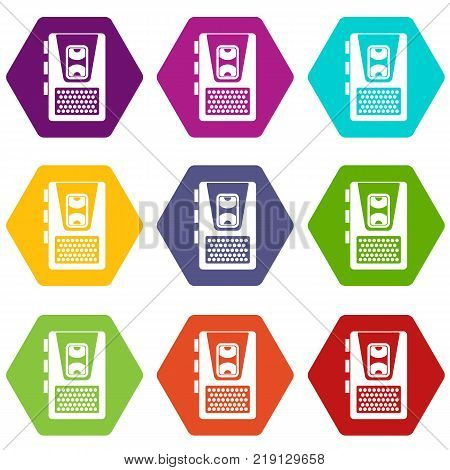 Dictaphone icon set many color hexahedron isolated on white vector illustration