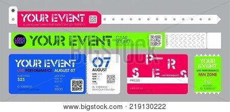 Ticket and bracelets for entrance to the event. Live performance entrance vector tickets and bracelets templates. Dance Music or Concerts. entrance to fan zone