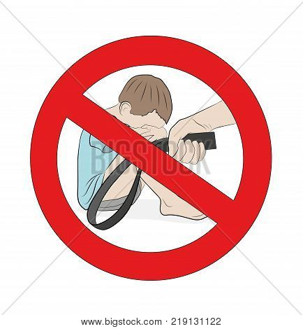 child and the hand of the parent with a strap. prohibition sign. Vector illustration. Vector illustration. Isolated on white background. The concept of prohibition of punishment of children
