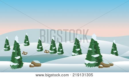 Vector winter landscape for cartoon or game scene background. Snow conifer trees and cold river. Vector illustration horizontally seamless.