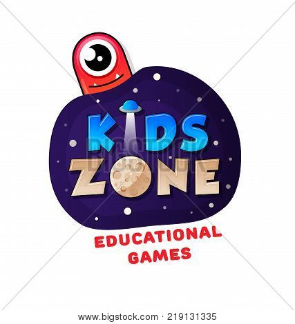 Kids Zone banner in cartoon style with a good jelly monster and ufo. for children's playroom decoration Children Playground. Vector illustration.