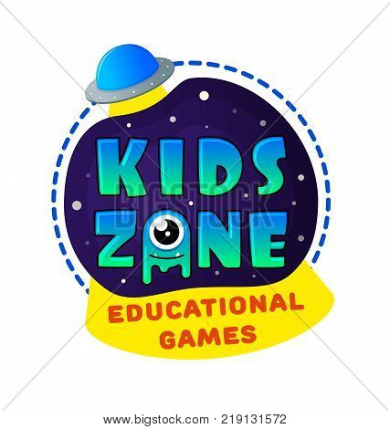 Kids Zone banner in cartoon style with UFO and kindly jelly monster. for children's playroom decoration Children Playground. Vector illustration.