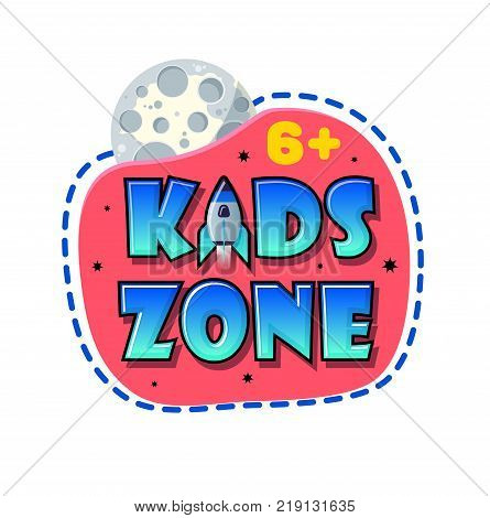 Kids Zone banner in cartoon style with planet and rocket. for children's playroom decoration Children Playground. Vector illustration.