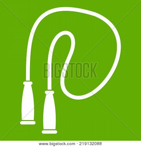 Skipping rope icon white isolated on green background. Vector illustration
