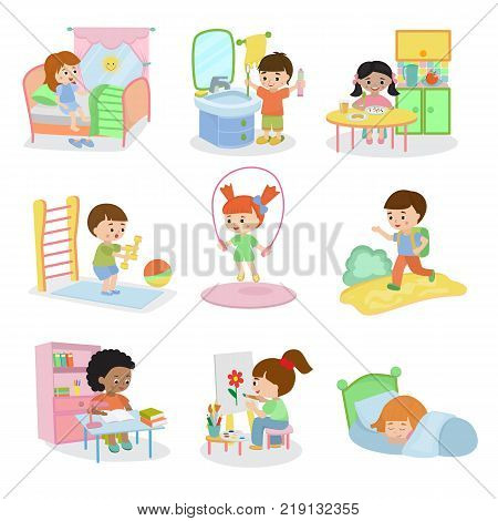 Kids everyday activities vector set children daily activity routine in childhood character active child eating or studying illustration sleeping girl or playing boy in childroom isolated on white.