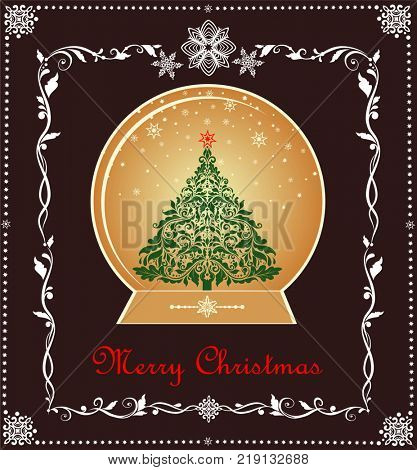 Greeting xmas sweet vintage card with gold globe, xmas tree, paper snowflakes and floral adornment