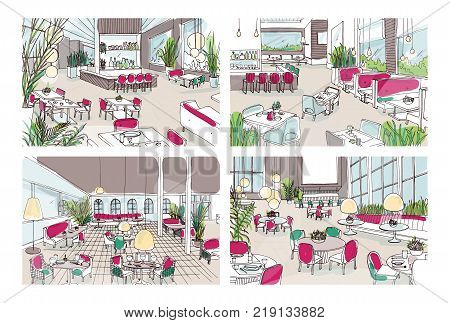 Bundle of colorful sketches of restaurant or bistro interiors with modern furnishings. Collection of colored freehand drawings of cafe or bar furnished in elegant style. Vector illustration