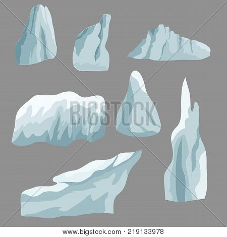 Set of ice rocks. Elements to create winter landscape scene for cartoon or game assets.