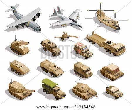 Army transport isometric icons collection with cargo aircraft helicopter fleet fighter tanks military vehicles isolated vector illustration