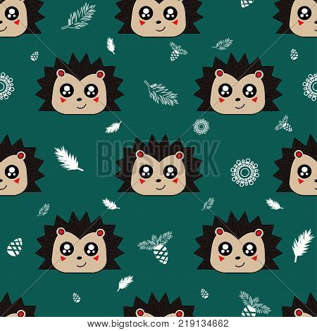 Cute Kids Hedgehog Pattern For Girls And Boys. Colorful Hedgehog On The Abstract Background Create A