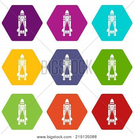 Space shuttle icon set many color hexahedron isolated on white vector illustration