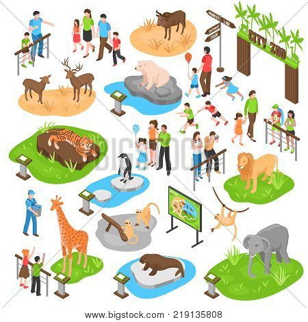 City zoo isometric set with adult and kid visitors and animals of african arctic asian zones isolated vector illustration