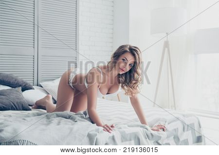 Good Morning! Portrait Of Sexy Pretty Girl Of A Dream In Doggy Style And White Underwear On Bed With