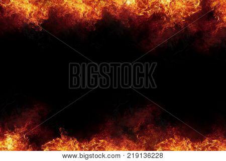Burning Fire Flames Frame On Black