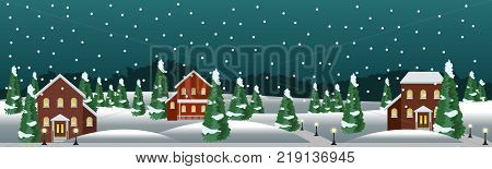 Winter village or farm landscape scene. Christmas or New Year night housessnow conifer trees. Use as background in cartoon or game asset. Vector illustration