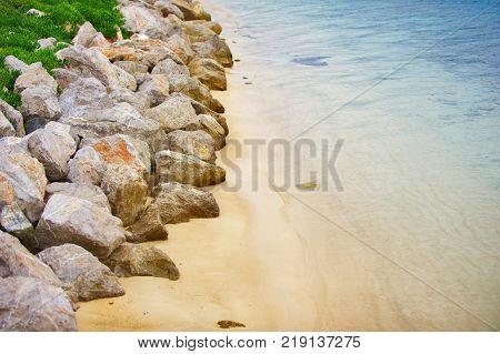 Aerial View of empty rocky Oludeniz Beach, Fethiye, Turkey