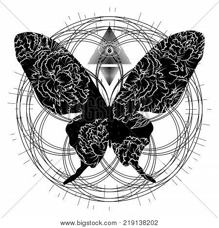 Butterfly tattoo. Spirituality and sacred geometry. Mystical and esoteric for t-shirts design. Vector illustration EPS10.
