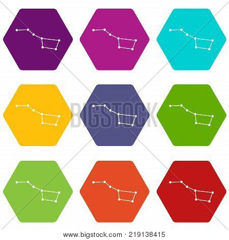 The Great Bear constellation icon set many color hexahedron isolated on white vector illustration