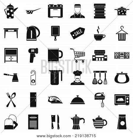 Restaurant utensil icons set. Simple style of 36 restaurant utensil vector icons for web isolated on white background