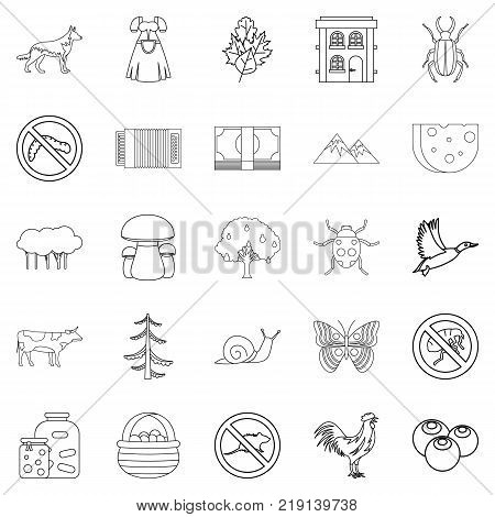 Summer cottage icons set. Outline set of 25 summer cottage vector icons for web isolated on white background
