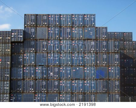Stack Of Containers In The Port