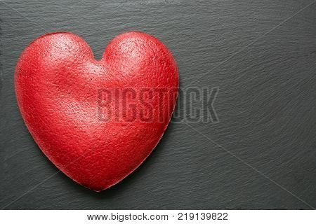 Valentines Day Composition Big Heart Of Red Velvet Cake Over Slate Plate. Top View. Copy Space.