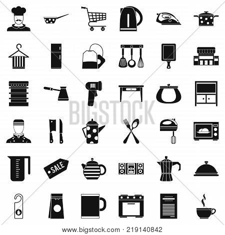 Cafe icons set. Simple style of 36 cafe vector icons for web isolated on white background