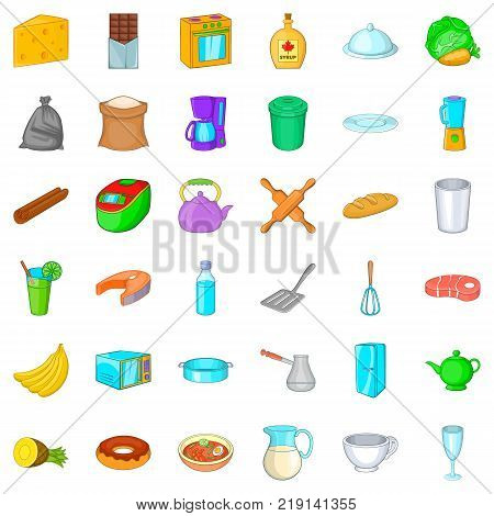 Kitchen utensil icons set. Cartoon style of 36 kitchen utensil vector icons for web isolated on white background