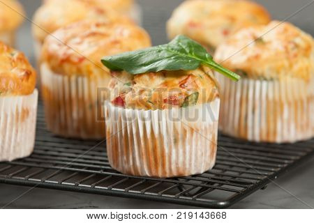 Home Baked Cheese And Vegetables Muffins With Pepper, Spinach, Sweetcorn, Mature Gouda