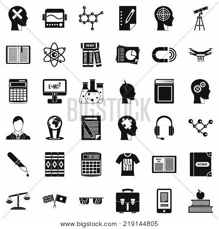 Knowledge icons set. Simple style of 36 knowledge vector icons for web isolated on white background