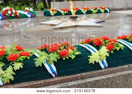 Eternal Flame Of Memorial To The Fallen Of The Second World War Is Located In Front Of Irkutsk. Russ