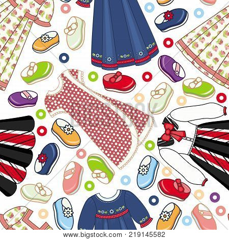 Seamless pattern of little girl dresses and shoes, cartoon vector illustration on white background. Seamless pattern with girlish shoes and dresses for textile, backdrop, wrapping paper design