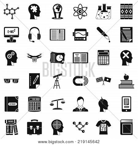 Student icons set. Simple style of 36 student vector icons for web isolated on white background