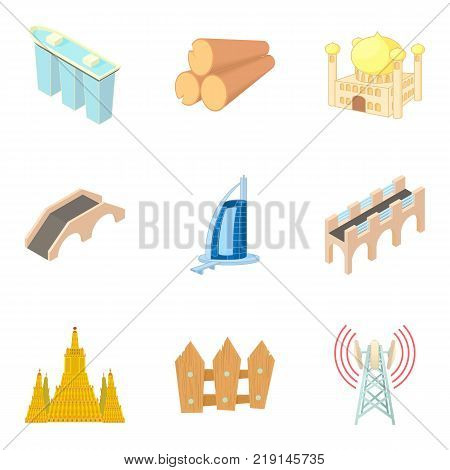 Build the city icons set. Cartoon set of 9 build the city vector icons for web isolated on white background