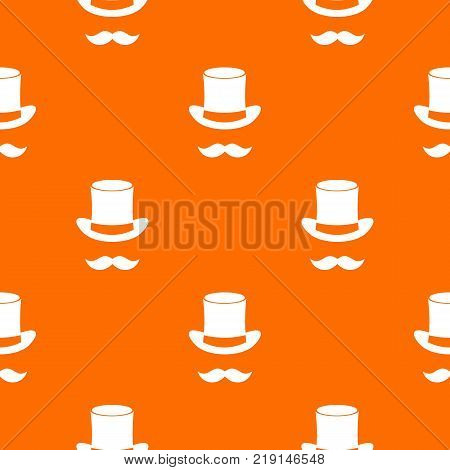 Magic black hat and mustache pattern repeat seamless in orange color for any design. Vector geometric illustration