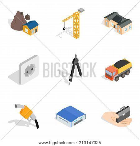 Construction site icons set. Isometric set of 9 construction site vector icons for web isolated on white background