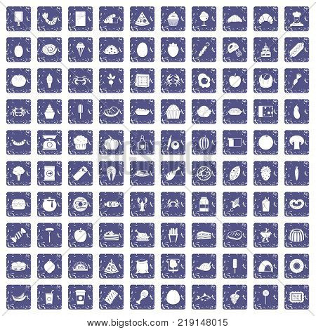 100 favorite food icons set in grunge style sapphire color isolated on white background vector illustration