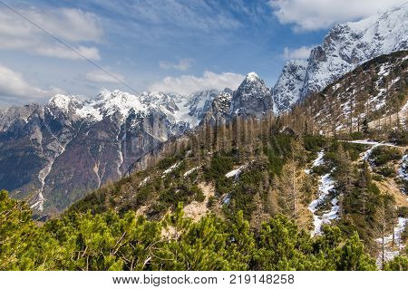 Julian Alps And Small Mountain Shelter On The Pass Vrsic.