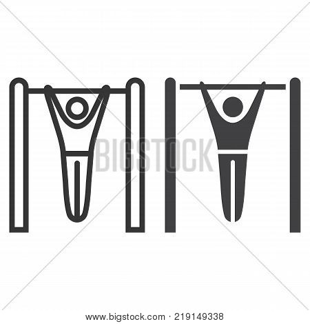 Fitness pull up line and glyph icon, fitness and sport, workout sign vector graphics, a linear pattern on a white background, eps 10.