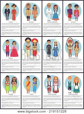 Japan and alaska, south america and africa, set of posters with variety of nationalities worldwide, text sample below each image vector illustration