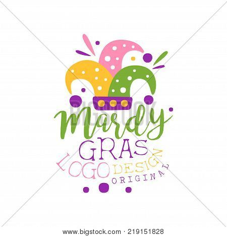 Hand drawn Mardi Gras holiday logo template with colorful fool s cap and lettering. Good for greeting card, banner, gift packaging. Shrove or Fat Tuesday, carnival. Flat vector isolated on white