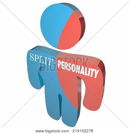 Split Personality Separate Identities Words 3d Illustration