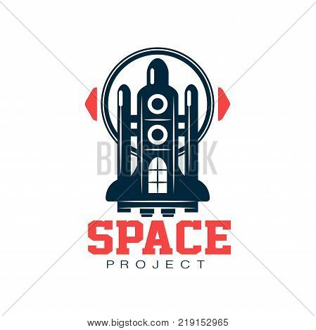 Creative logo design of cosmic shuttle. Scientific expedition. Journey into space. Abstract emblem in flat style. Graphic design for project, patch, shirt print or badge. Isolated vector illustration.