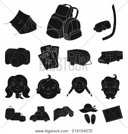Family holiday black icons in set collection for design. Recreation and equipment. vector symbol stock  illustration.