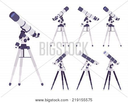 Telescope optical instrument. Scientific equipment making distant objects larger, astronomy study, observation. Vector flat style cartoon illustration isolated, white background, different positions
