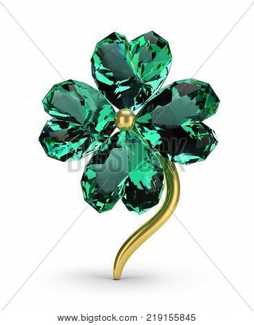 Brooch in the form of an emerald clover. St.Patrick 's Day. 3d image. White background.